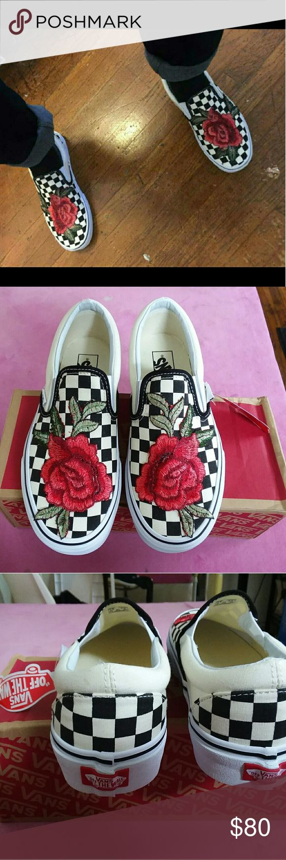 Custom Rose Checkered Vans Slip Ons Custom, Brand New with Original Box.  Ask For Your Size!!! **also on Merc, username Shae Cole Vans Shoes Sneakers