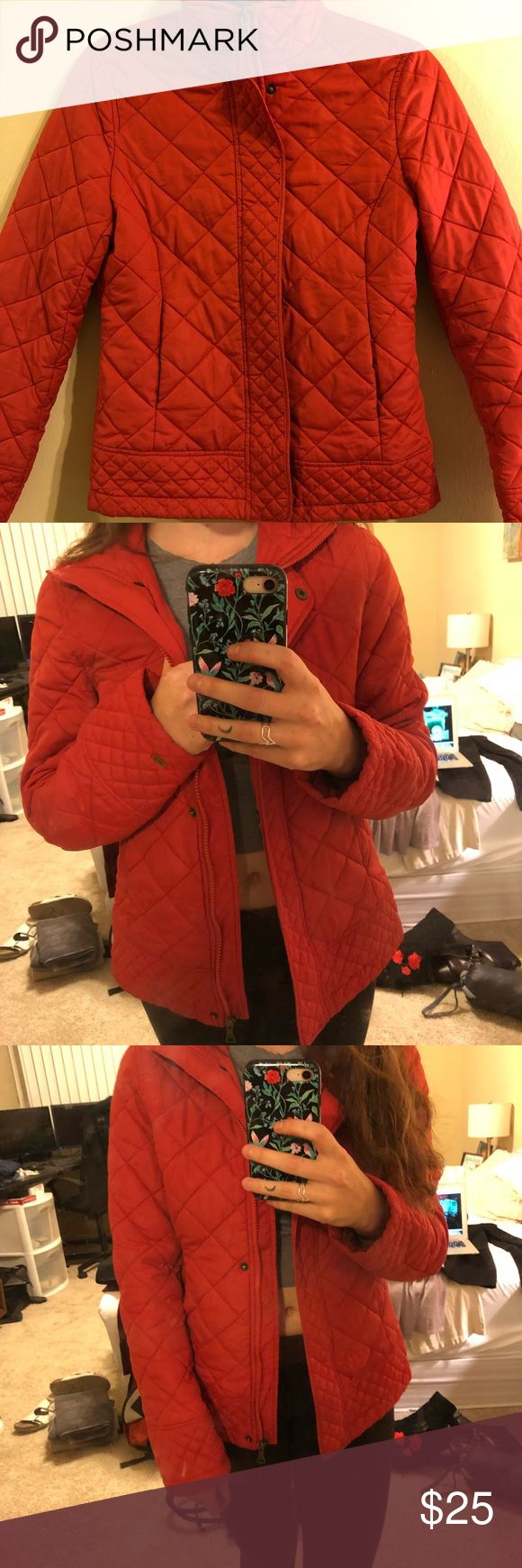 Tommy Hilfiger blood orange down jacket Very warm and comfortable Tommy Hilfiger quilted jacket. Blood orange color with little damage other than slight wear over the last year. It's very warm!! Tommy Hilfiger Jackets & Coats Puffers
