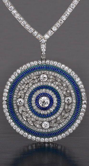 Edwardian Plique a Jour diamond necklace - 1905