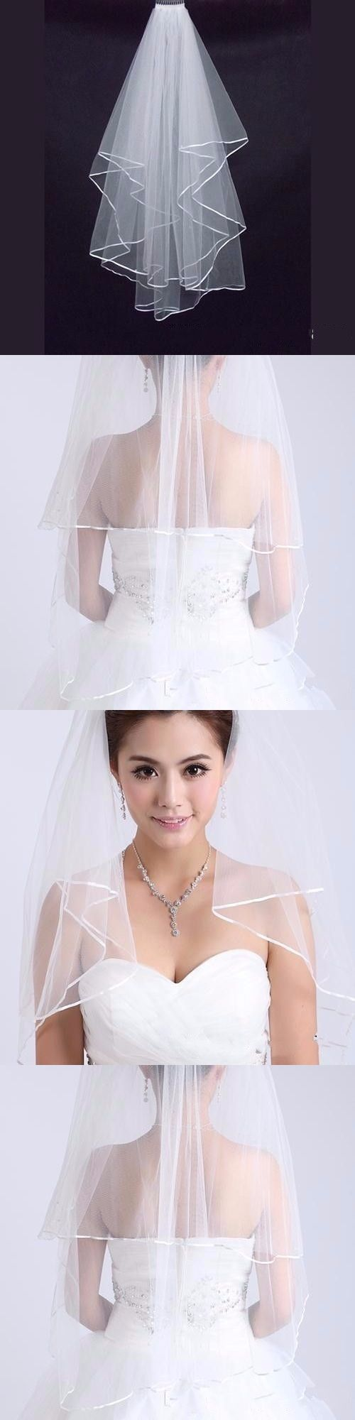 Bridal Veils 2017 Wedding Bridal Veils Tulle Ivory White Wedding Accessories Cheap velos de novia voile mariage