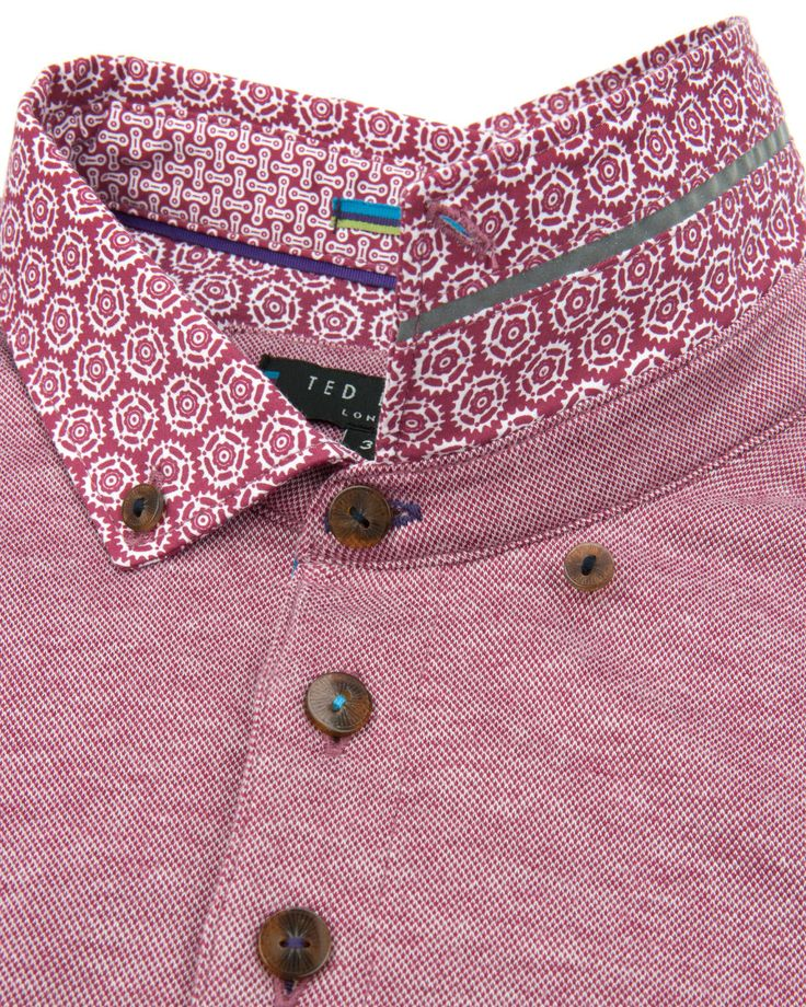 Printed collar polo - Red | Tops & T-shirts | Ted Baker                                                                                                                                                      More
