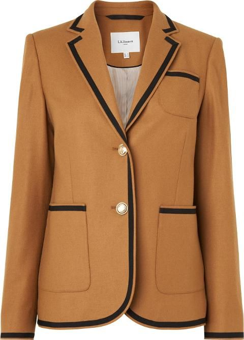 Louise Toffee Blazer Brown. A fashion forward balzer ideal for the new season. The toffee shade capitalises on the 70s trends, with timeless detailing and silhouette. Wear over silk blouses and finish with the coordinated cullotes for a fashion led look. #LKBennett #Brown #Toffee #Blazers #Women #aw16 #fall16 #cozy #chic #fashion  #lifestyle #style
