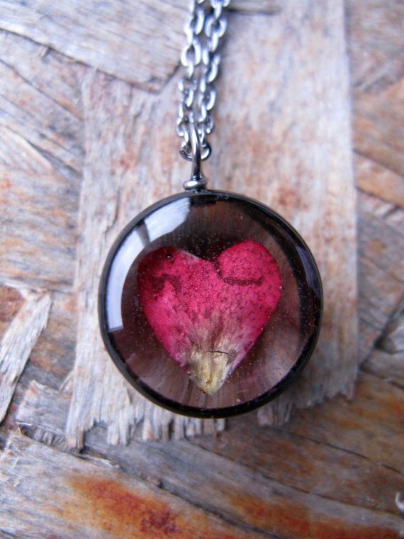 Heart Rose Petal Necklace Real Rose petal encased by ScrappinCop