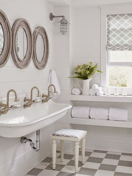 Such a fun farmhouse bathroom the sink the floor the - Farmhouse style bathroom mirrors ...