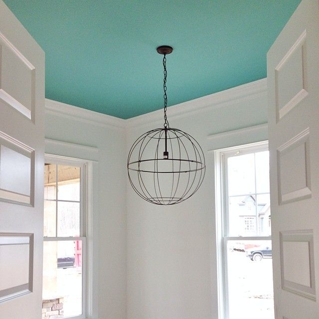 bright aqua blue ceiling | Benjamin Moore Skydive paint | Young House Love