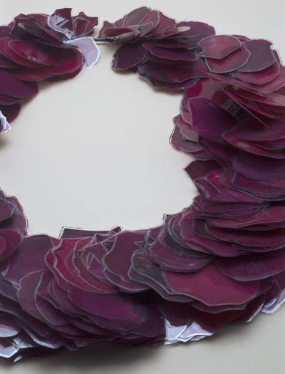 """Renee Bevan - N Z- Rose petal  lei  All Images From Pocket Guide to New Zealand Jewelry   Velvet da Vinci Contemporary Art Jewelry and Sculpture Gallery   San Francisco   """"""""Much of my work revolves around my fascination with the manufactured sentimentality and vast symbolism of flowers, mainly being the rose and carnation, as well as traditional jewellery."""""""
