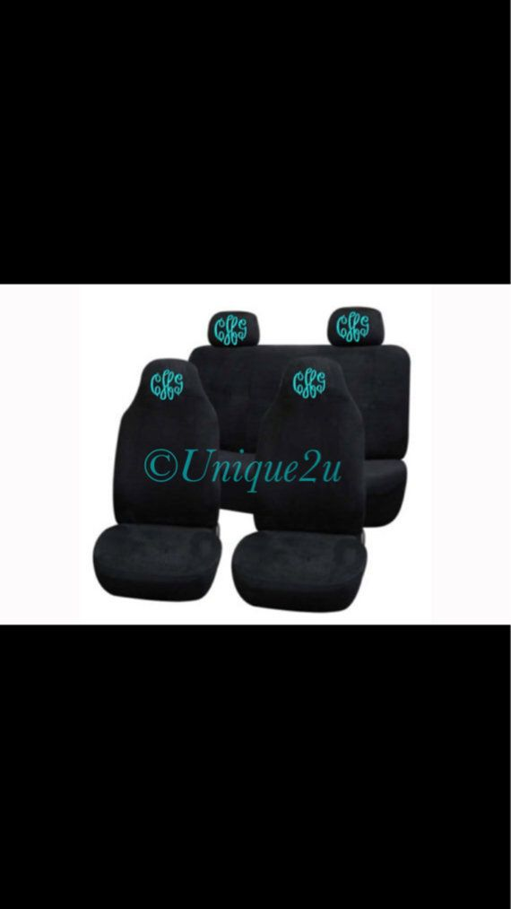 Personalized Front and back car seat covers by Unique2U2 on Etsy Empire Font with my monogram in Teal, black covers
