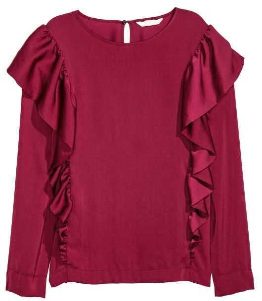 H&M - Satin Blouse with Ruffles - Burgundy - Ladies