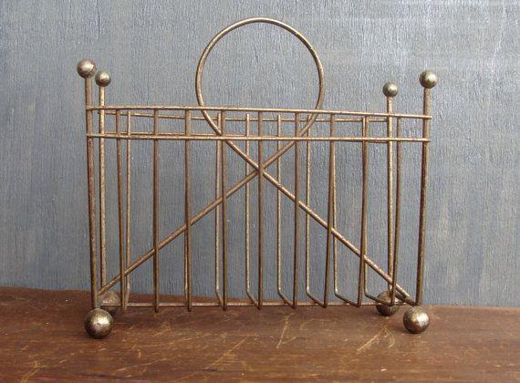 Vintage napkin holder, gold metal