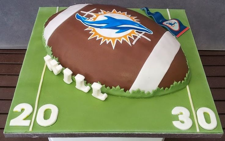 Miami Dolphin American Football cake - By DC Cakes and Bakes Ltd