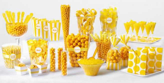 Yellow Candy Buffet - This is a great way to incorporate a color theme at any kind of party. It was easy to find the bulk candy in lots of fun flavors. 5 out of 5 stars!