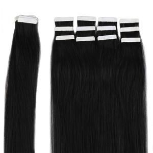 Extensions adhésives en Cheveux naturels - 20 bandes - #1B Noir Naturel