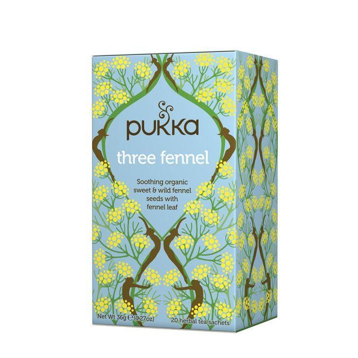 Pukka Three Fennel Tea uses three types of fennel to create a full flavoured tea