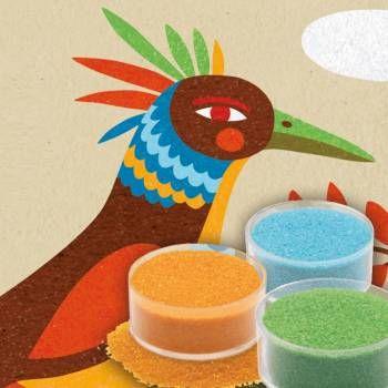 Knutseldoos: gekleurd zand 'paradijsvogels'