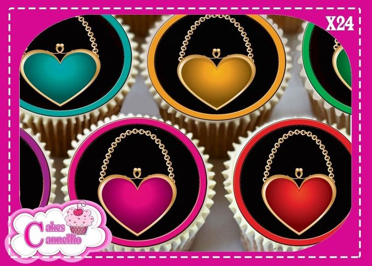 24 X HEART SHAPED HANDBAGS MIXED  - EDIBLE CUPCAKE TOPPERS RICE PAPER 9510M