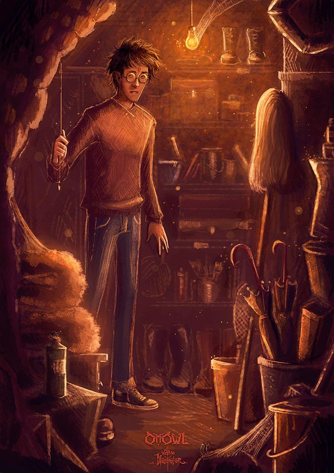 """The Seven Potters """"And down here, Edwiges - Harry opened a door under the stairs - That's where I used to sleep! You did not even know me at the time ... dammit, I'd forgotten how tight it was ..."""""""
