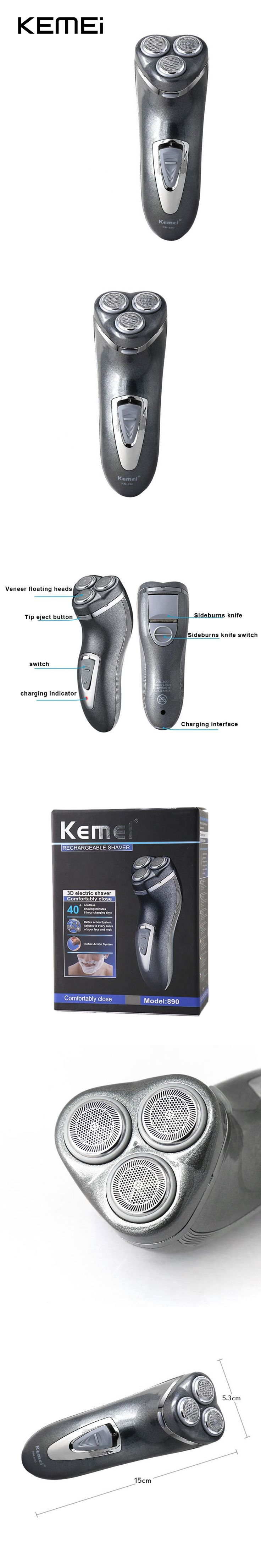 KEMEI KM-890 3D Floating Head Rechargeable Electric Shaver for Men Nose Beard Trimmer Shaving Razor Barbeador Rasoir Electrique