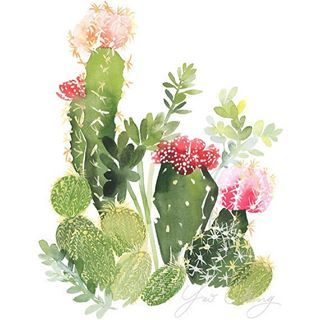 Should I make a Cacti Panting video? I'm so obsessed with  This is a perfect weekend painting to do with watercolor  #Art by: YaoChengDesign #Watercolor #love #instadaily #instamood