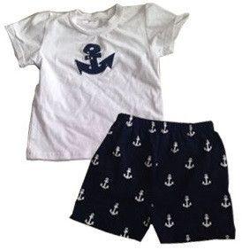 Navy Blue White Anchor Shorts Set