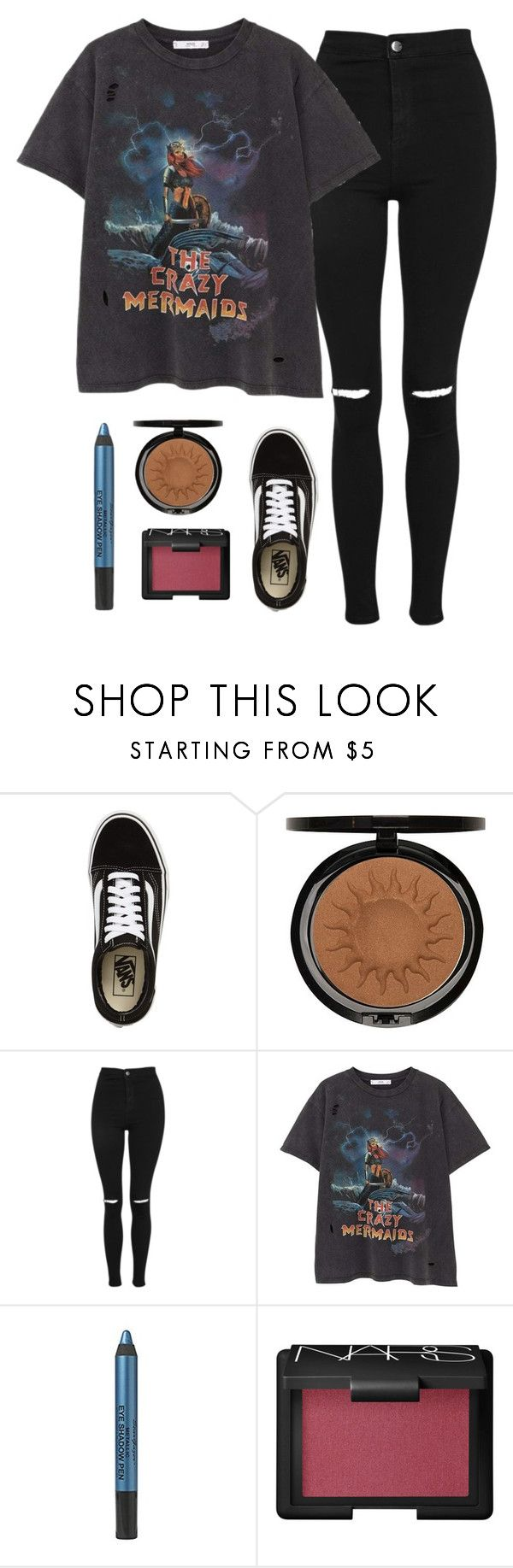 """""""back to school outfit"""" by noeliahoran99 ❤ liked on Polyvore featuring Vans, Iman, Topshop, MANGO, NARS Cosmetics, black, vans and graphictee"""
