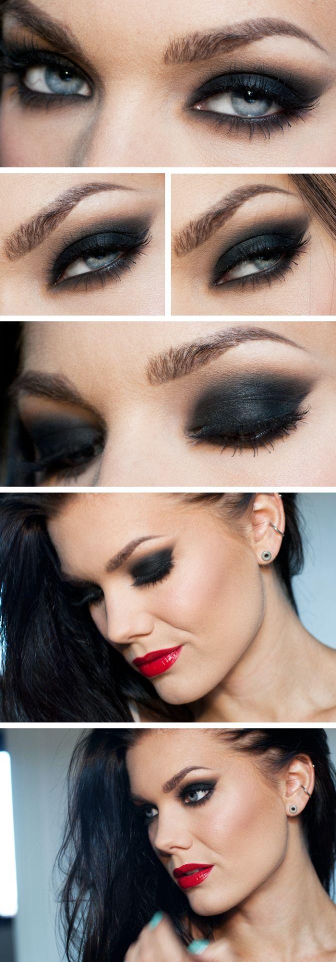lindahallberg : black smokey cat eye, glossy red lips  - dramatic evening makeup