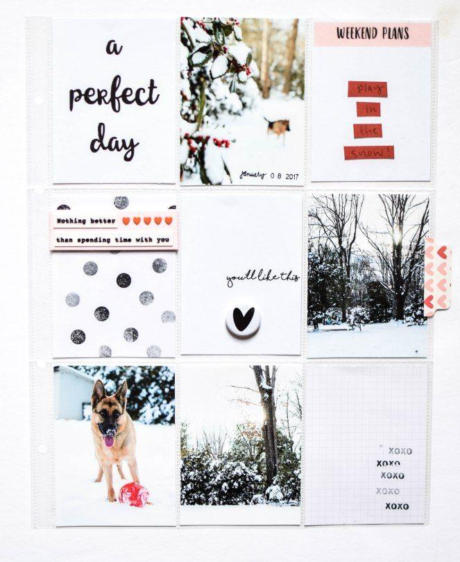 White, white, white. 9x12 Project Life by wordsandpaperscraps.wordpress.com (FYC Love Bugs mini flair)