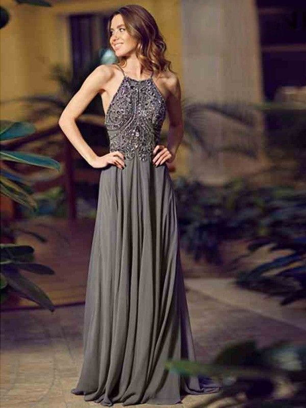 A-Line/Princess Spaghetti Strap Sleeveless Beading Chiffon Floor-Length Dresses