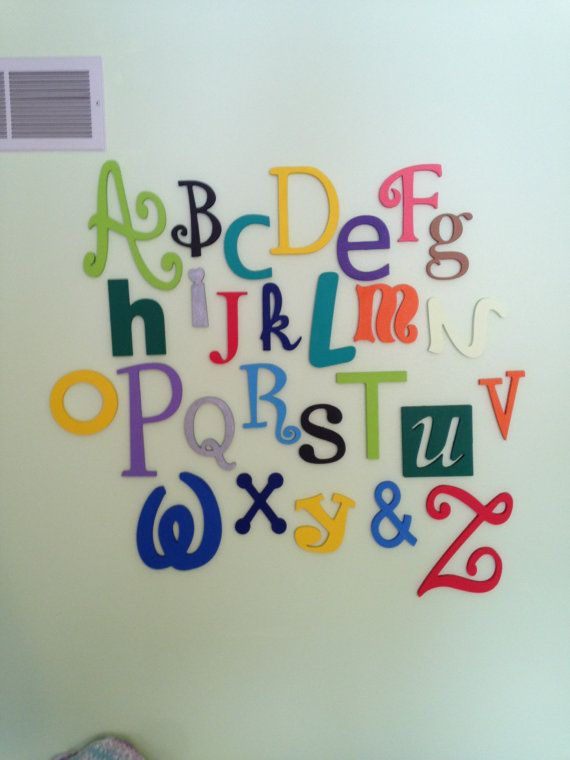 """Wooden Alphabet Letter Set -PAINTED- 5"""" to 10"""" letters-ABC Wall- ALphabet Wall decor- Hanging wall Letters-Nursery Letters-Alphabet letters"""