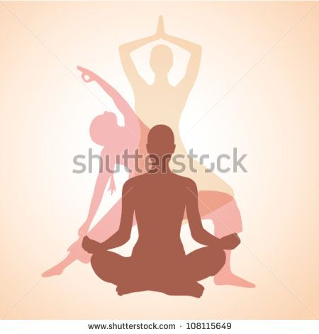 three contours of women in the yoga poses on a beige background - stock vector
