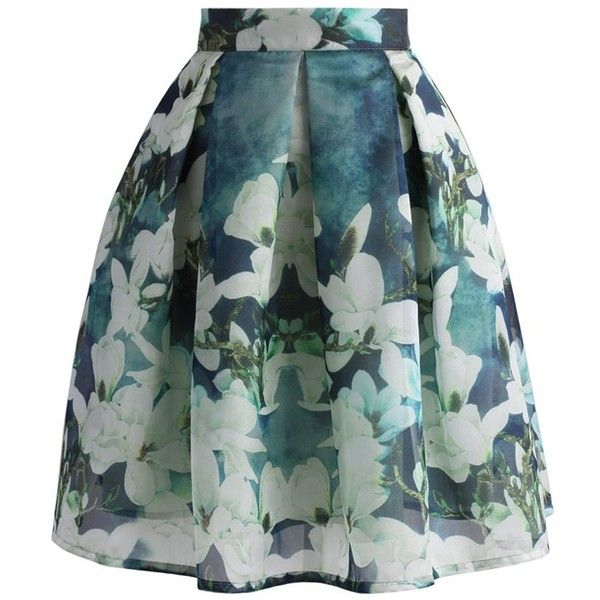 Chicwish Greenish Magnolia Pleated Skirt (885 MXN) ❤ liked on Polyvore featuring skirts, bottoms, green, green skirt, print skirt, holiday skirts, patterned skirts and cocktail skirt