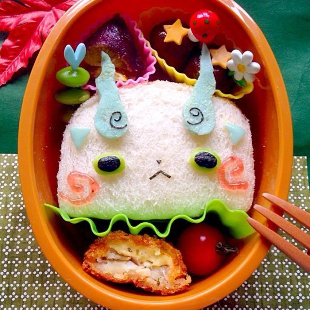 食パンをお弁当箱のライストレイで型抜きして作りました(*≧艸≦) - 66件のもぐもぐ - 妖怪ウォッチ☆コマさんサンドイッチ by ザッキー☆
