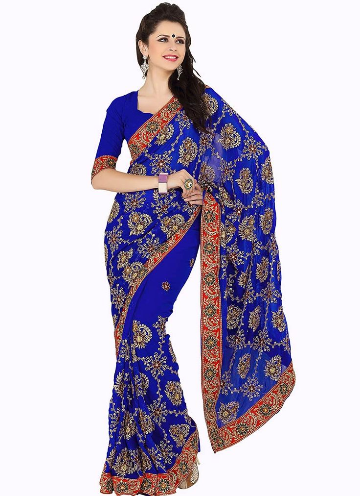 Buy Vivid Blue Georgette Embroidered Saree online from the wide collection of Sari. This Blue Saree in Faux Georgette goes well with any occasion. Shop online for Wide range of silk sarees, cotton sarees, wedding saris  &  more at Cbazaar.com
