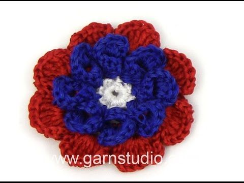 DROPS Crocheting Tutorial: How to work a Tagetes flower. - YouTube