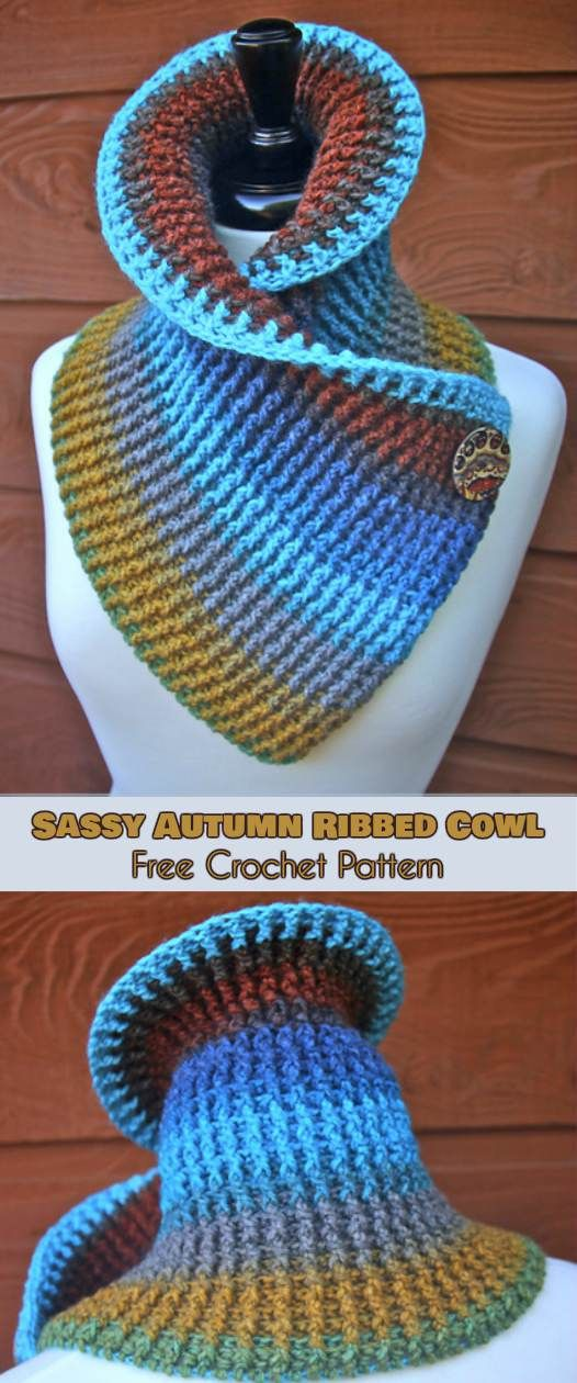 Sassy Autumn Ribbed Cowl [Free Crochet Pattern and Video Tutorials]