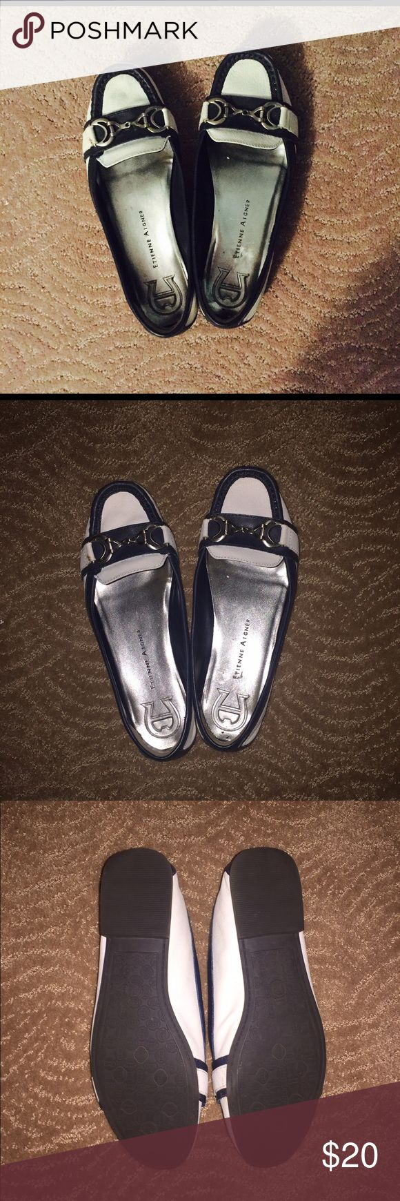 Navy Blue and White Aigner Loafers Navy Blue and White flat loafers. Rubber bottoms. Hardly worn- VERY NARROW. Etienne Aigner Shoes Flats & Loafers