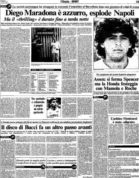 1984. Maradona è del Napoli (L'Unità)