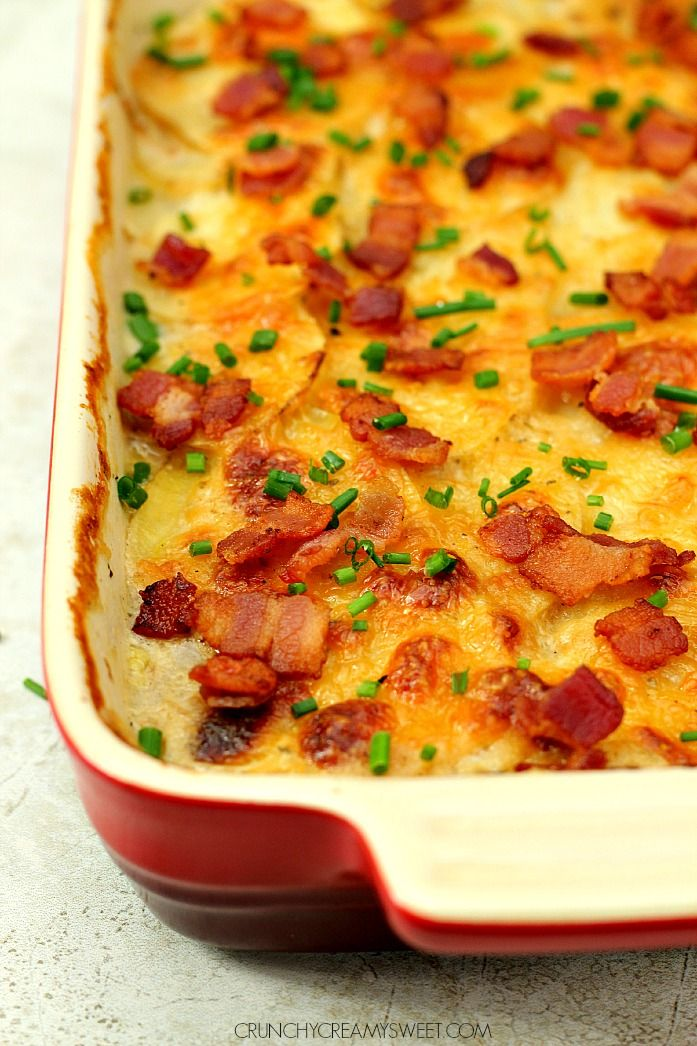 Buttermilk Ranch Potatoes Au Gratin - classic comfort food dish of potatoes in creamy Ranch sauce. The addition of braised cabbage and bacon makes it irresistible!