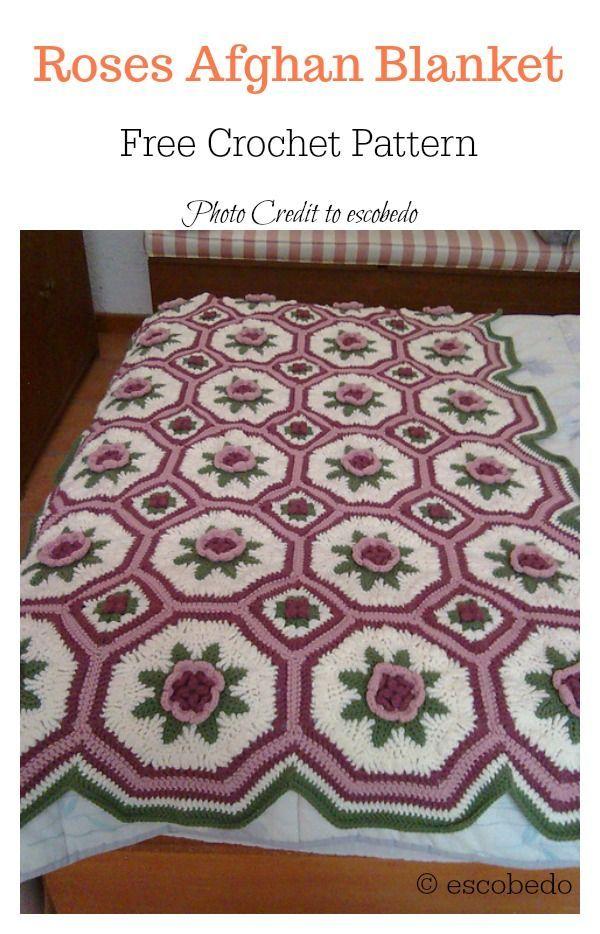 Crochet Rose Granny Square Afghan Free Patterns Granny Squares