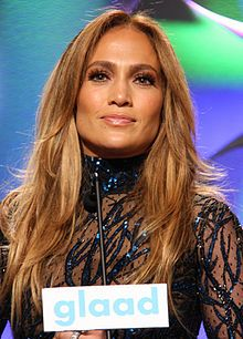Jennifer Lopez(1969 - ) at GLAAD Media Awards./ also known as JLo, is an American singer, actress, dancer, fashion designer, author, and producer