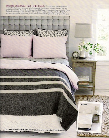 Faux Padded Headboard in Charcoal.  Just stick it on the wall and remove whenever you want a change!$144