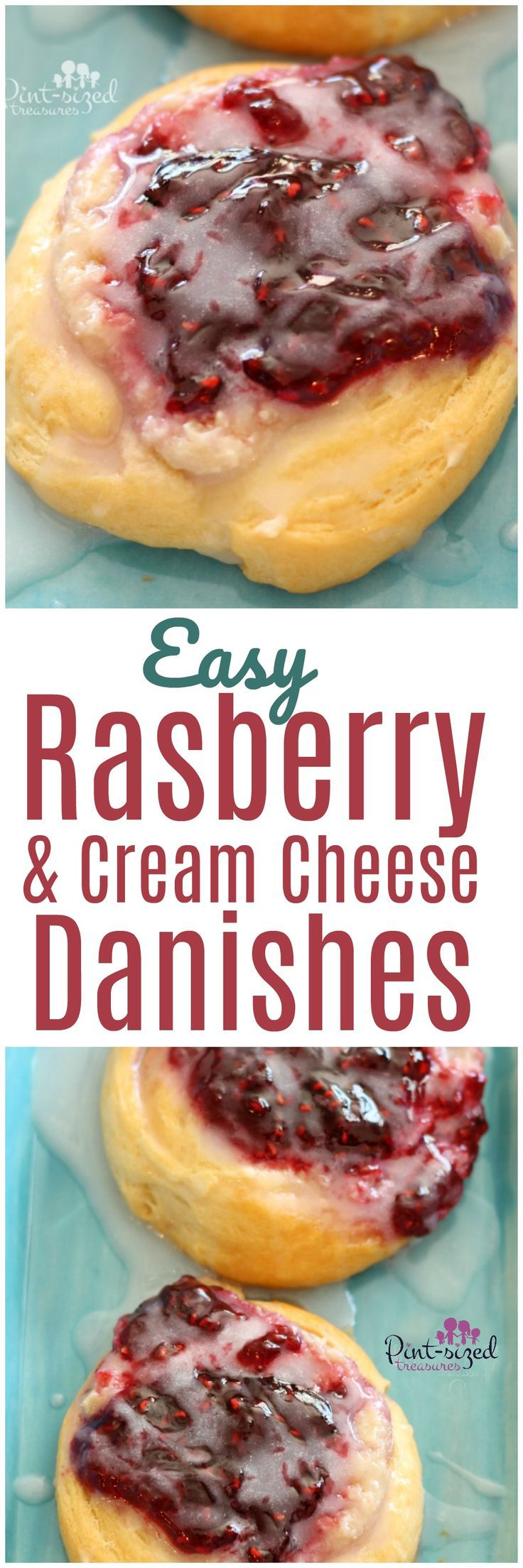 Oooh! These warm-from-the-oven, raspberry and cream cheese danishes are a cinch to whip up! They're full of creamy sweetness mixed with the tartness of raspberries that we all love! Bake up a batch of easy danishes today!