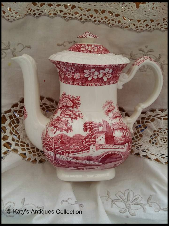 Red transfer ware vintage Spode Copeland - English coffee pot from 1920s-1930s.