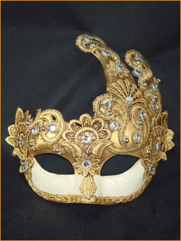 Colombina Fuoco Mac Craquele (Traditional Venetian Eye Mask. Special Aging and Cracking Technique to make it look like Antique Porcelain. Decorated with Swarovski Rhinestones, Macrame Lace, and Gold Leaf.) www.marega.it