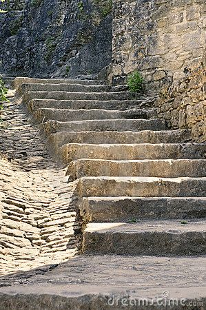 The stairs down to the River Road are like this but longer.  No railings to lean on and rather steep.  This scares the -you-know-what- out of Andrien.