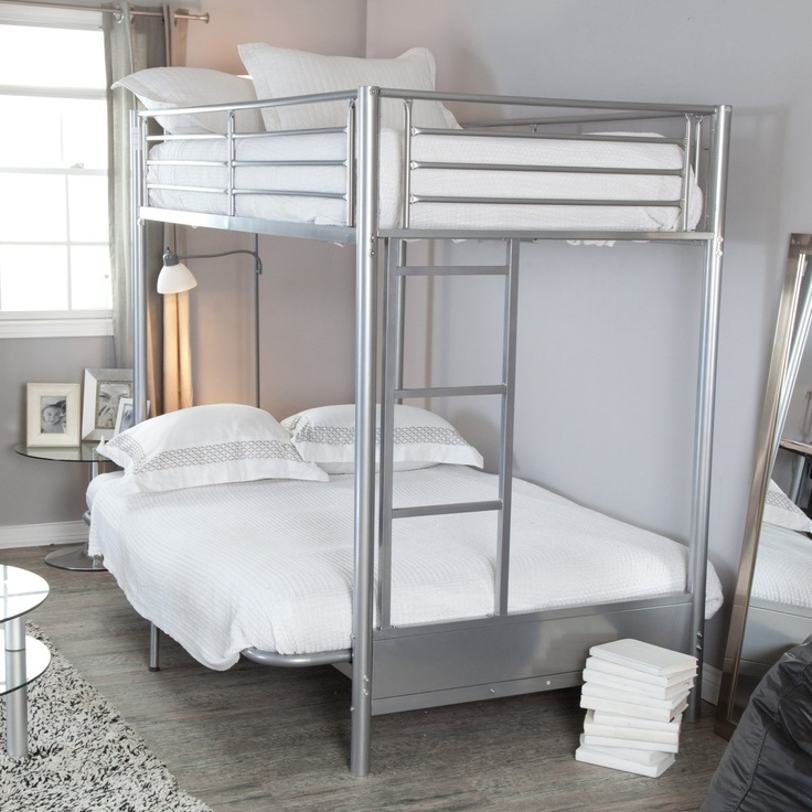 Duro Wesley Twin over Futon Bunk Bed - Silver - Futon Bunk Beds at Simply Bunk Beds