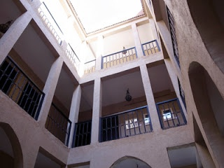 The courtyard of Dar Chamaa in Ouarzazate. Looks like the funduk in Nejjarine, Fez