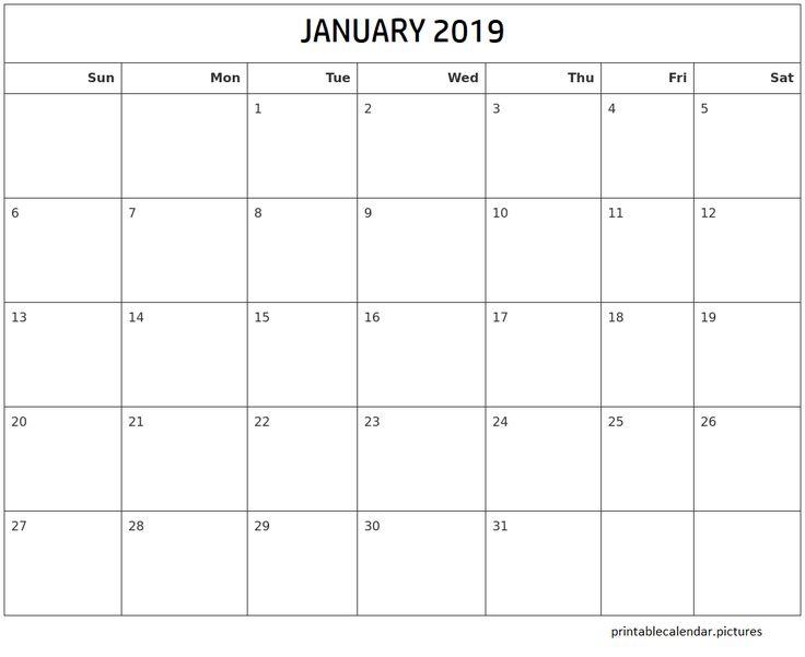 January 2019 Printable Calendar January 2019 Printable Calendar