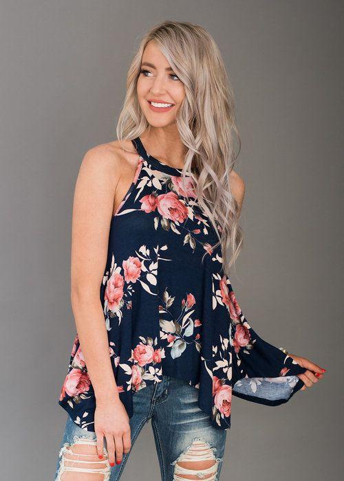 Navy Flowy Drape Tank, Boutique, Online Boutique, Women's Boutique, Modern Vintage Boutique, Top, Tank Top, Navy Top, Floral Top, Cute, Fashion