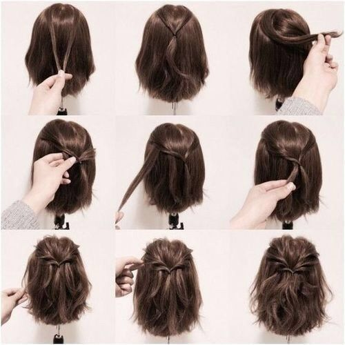 Brown + Half Down Half Up + Half Twisted Ponytail                                                                             Source