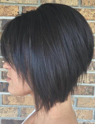 Severe inverted bob haircut